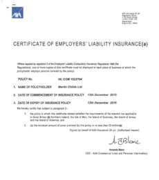 Water Control Construction | Employers Liability Insurance certificate for MCL