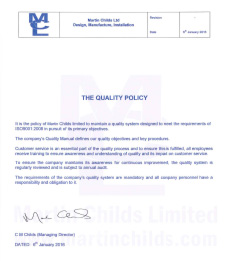 Water Control Construction | Quality policy certificate for MCL