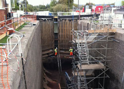 Refurbishment of Diglis Lock Mitre Gates in 2012. Diglis Lock, Navigation Road, Worcester WR5 3BS