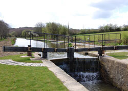 Timber Lock Gates in Bude Cornwall looking up stream